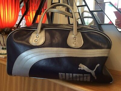 9f6cd13576 Vintage Retro Old School 1980s Original Puma Silver Blue Sports Gym Bag  Holdall