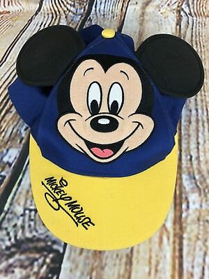 MICKEY MOUSE 3D Ears Baseball Cap Hat Disney Park Original Youth Yellow Blue
