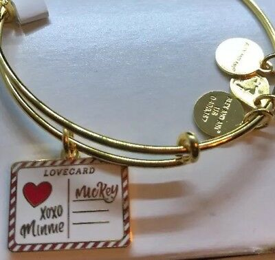 Disney Alex and Ani Gold Mickey Lovecard XOXO Minnie Bracelet Love Care Holiday