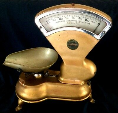 Grocery Store Scale (2 lb), Weight Balance Berkel Style.Gold color. Vintage.