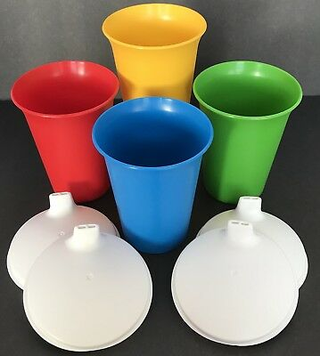 Tupperware Bell Tumblers Cup Set of 4 Primary Colors + Sippy Seals Lids Kids New