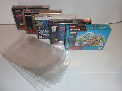 snes super nintendo game box protectors .4  thick pet n64 x 5