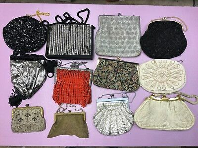 Vintage  Lot of 12 Handbags Purses Micro Beaded Flapper Mesh Some Singned
