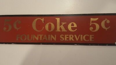 Coca Cola Coke 5 Cent Fountain Service Reverse Painted Glass Advertising Sign