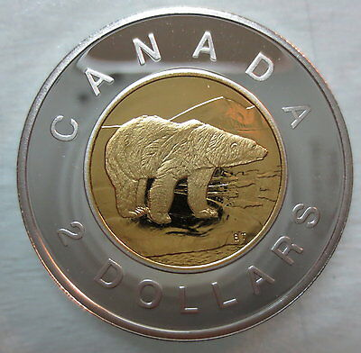 1997 Canada Toonie Proof Silver With 24K Gold Plated Core Two Dollar Coin