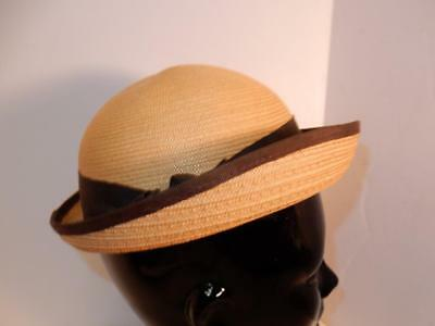 Vintage Antique 1930s 1940s ART DECO WOVEN HAT NEW YORK CREATIONS TAG 21.5""