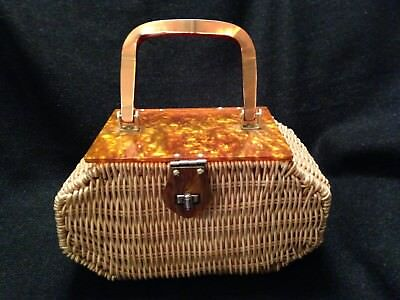 Vintage Princess Charming Lucite Wicker Purse by Atlas Moonglow Hong Kong