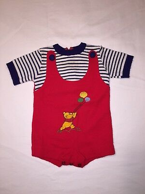 Vintage Sears Winnie The Pooh Infant Romper 6-9 Months Balloons Knit Spring