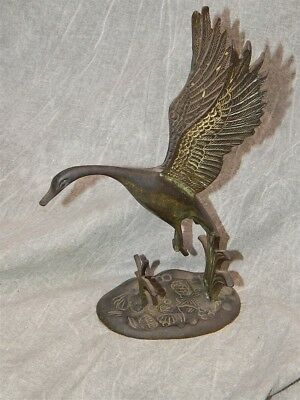 Vintage Japanese Cast Bronze Goose or Waterfowl