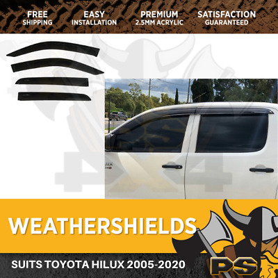 Premium Weather Shields Weathershields Window Visor Hilux Dual Cab 05-17 4pcs