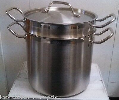 20 Qt. Double Boiler 18/8 Stainless Induction Ready - Commercial Quality Pot