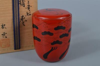 K4859: Japanese Wooden Lacquer ware TEA CADDY Natsume, Shoun made w/signed box