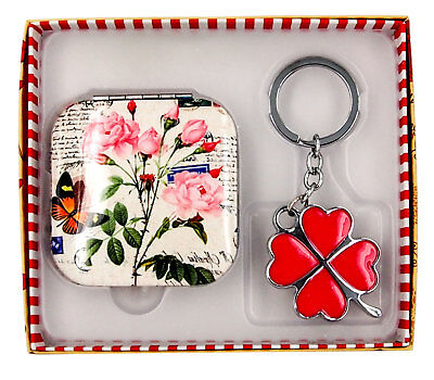 Gift Boxed Decorative Square Compact Mirror & Keyring-AU Seller