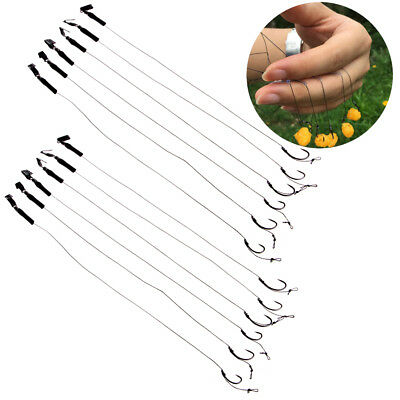 6Pcs Barbless Size 6 8 10 Carp Fishing Hook Tackle Hair Rigs Accessories Tackles