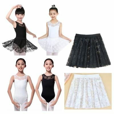 Kids Girls Ballet Dance Lace Leotard Skirt Tutu Bodysuit Gymnastic Sleeveless