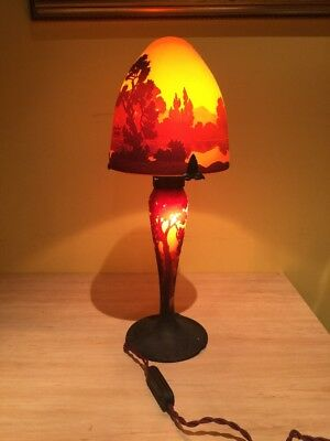 Original MULLER FRERES Signed French Art Deco Luneville Table Lamp .Very Rare.