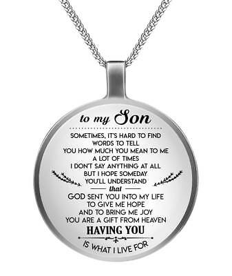 998af1bbd474a TO MY SON Necklace - Perfect Son & Dad Silver pendant - Gifts From Mom and  Dad