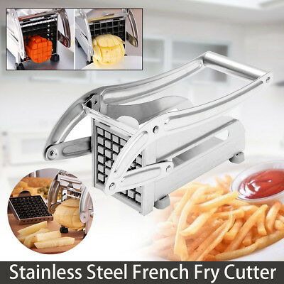 Stainless Steel 2 Blades Chrome Potato French Fry Chipper Chips Cutter Slicer