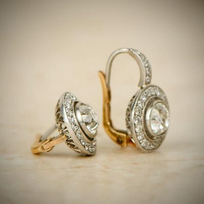 Antique Vintage Art Deco 14K White Gold Over 2 Ctw Diamond Halo Earrings 1920's