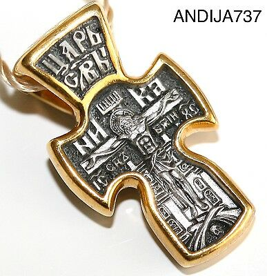 Russian Greek Orthodox Cross Pendant Medal Silver 925+999 Gold. Blessed. Wow !!