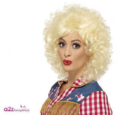 Ladies Blonde Dolly Parton 80s Womens Cowgirl Rodeo Doll Wig Adult Fancy Dress