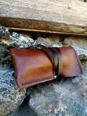 Men Watch Roll Leather Case Handmade Organizer Fits 2 Watches Rolling Wrap