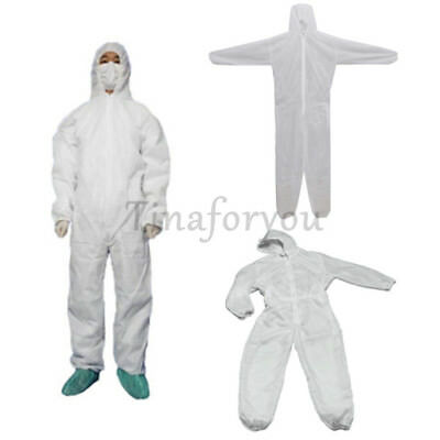 US M-3XL Work Clothes White Disposable Overall Suit Protective Hood Coverall DIY
