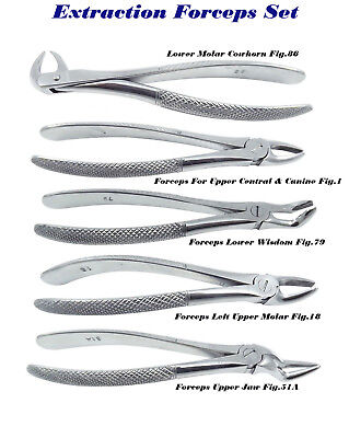 5 Dental Surgical instrument Extrections EXTRACTING Forceps Fig. 86,1,79,18,51A