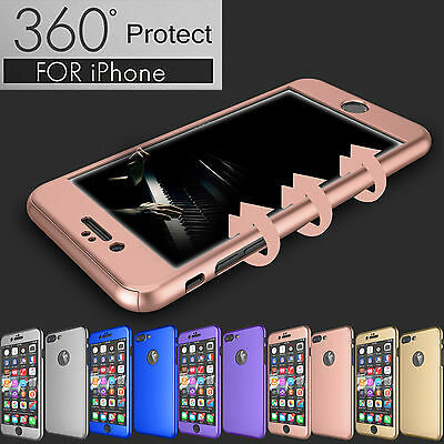 Hybrid 360° Shockproof Slim Case Cover Tempered Glass For Apple iPhone 6S 7 Plus