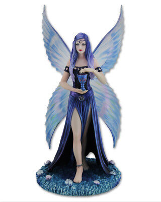 "Anne Stokes Statue: ""Enchantment"" Magical Blue Fairy Figurine Wicca"