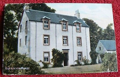 """Old Colour Postcard showing""""Glendevon Manse"""" - posted in 1905 toGlasgow"""