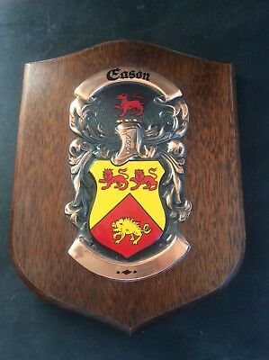 Vintage Handpainted Wooden Heraldic EASON name Family Crest Shield Wood Copper