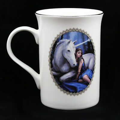"Anne Stokes Luxury Ceramic Mug Cup: ""Blue Moon"" White Unicorn with Maiden"