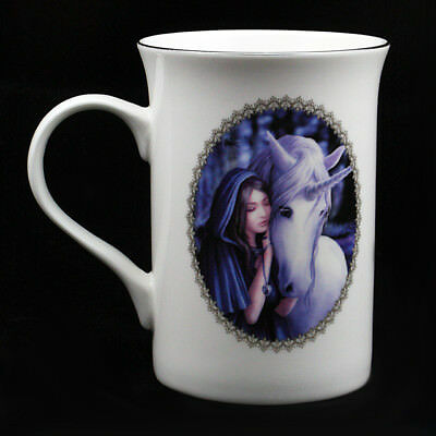 """Anne Stokes Luxury Ceramic Mug Cup: """"Solace"""" White Unicorn with Maiden"""