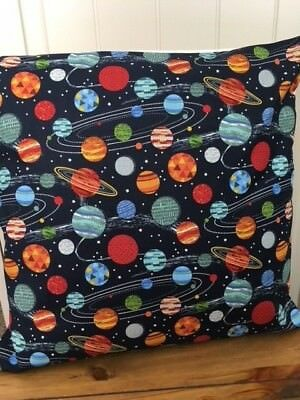 "'Space and Planets' 16"" x 16"" Square Cushion Cover 100% Cotton"