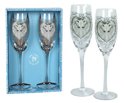 Anne Stokes Set of Two (2) Luxury Champagne Flutes in Gift Box: Unicorns