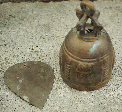 antique vintage old  solid brass bell with engravement from Asia India / Tibet