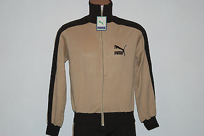 Deadstock Puma Full Tracksuit Vintage '70 Brown Running Glanz Sport Hoodie Shiny