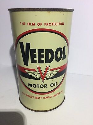 Rare & Clean Veedol Wings Motor Oil Imperial Quart Tin Can Sign Canada Advertise