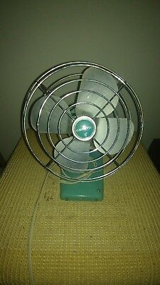 Super Cute Small Vintage 50's Eskimo Turquoise Blue Electric Fan Works Great!