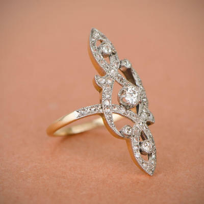 Rare Vintage Art Deco Antique 1.0 Ct Diamond Engagement Nouveau Ring Era 1900's