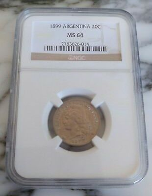 Great Argentina 20 Centavos 1899 Ms 64 Ngc Certification Coin