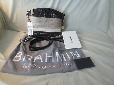 BRAHMIN Mini Duxbury Leather Sterling Kapoor w Storage Bag Strap and Papers NWT