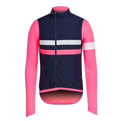 Rapha Long Sleeve High Vis Pink/Navy Brevet Jersey with Gilet. Size XS. NEW
