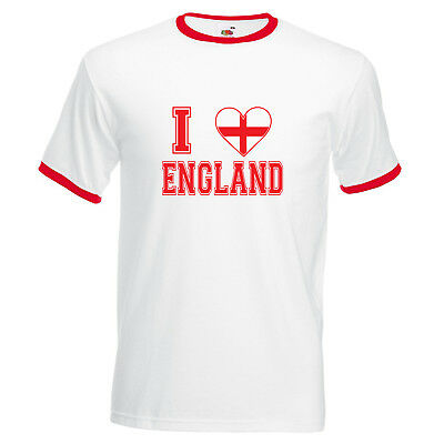 I Love England Ringer T-Shirt -  Cool Football World Cup 2018 Sporty Fan Gift