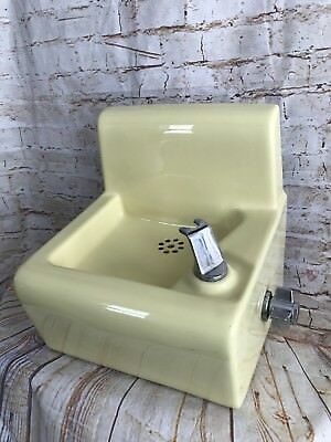 Vintage Standard Yellow Drinking Water Fountain Faucet Porcelain Wall Mount