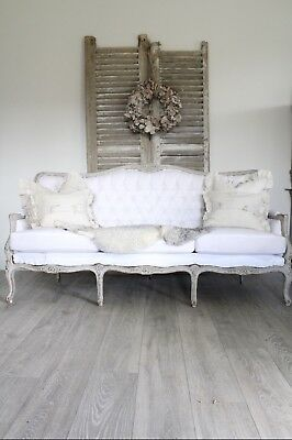 Beautiful vintage Swedish button back sofa in calico