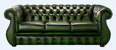 Chesterfield Kimberley 3 Seater Antique Green Leather Sofa Settee