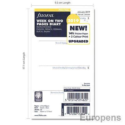 Filofax 2019 Personal Size Week on two pages 5 lang (68427) Diary Insert Refill