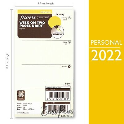 Filofax 2019 Personal Size Week on two pages Cream English Diary Refill (68424)
